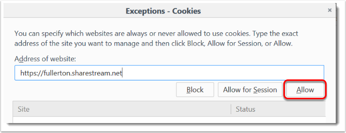 Allow button is selected.