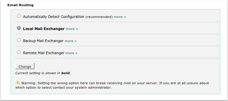 CPanel Local Mail Exchanger