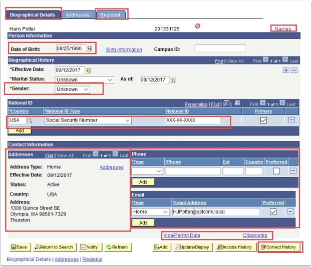 Biographical Data tab