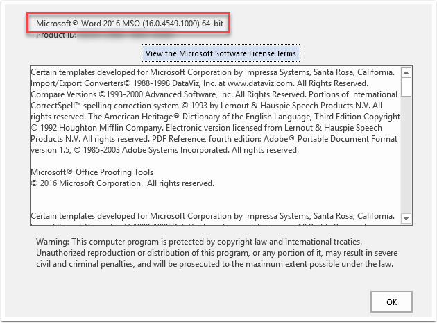 Microsoft Word 64-bit page