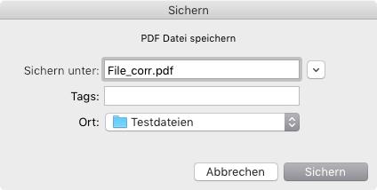 Die korrigierte Fassung der PDF-Datei als neue Datei abspeichern