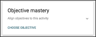 Objective mastery drop down menu