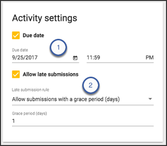 image showing due date and allow late submissions features on activity settings