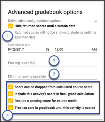 image showing advanced gradebook options panel with options selected