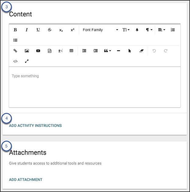 image showing content and attachment panel on activity panel