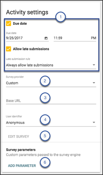 The activity settings card outlining the options mentioned on the screen.