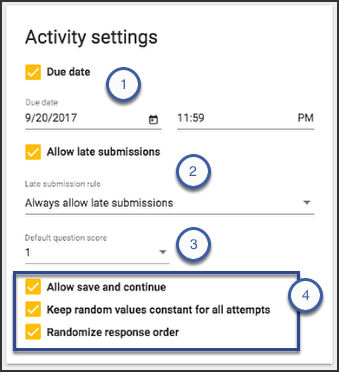 Image of the activity settings card displaying the options just listed.