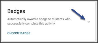 The badges card image points to the small arrow to the right that expands the badges options.