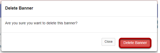 Click Delete Banner to confirm the deletion.