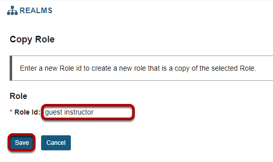 Enter a role id for the new role and Save.