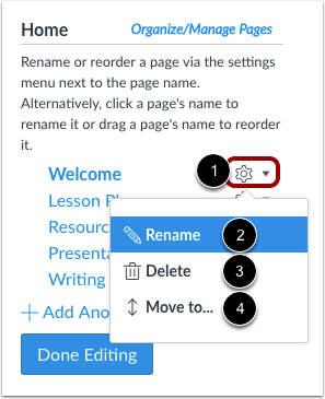 View Page Settings