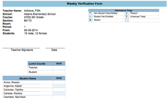 Monthly/Weekly Verification Forms