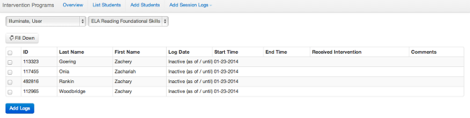 Multiple Students - Session Log