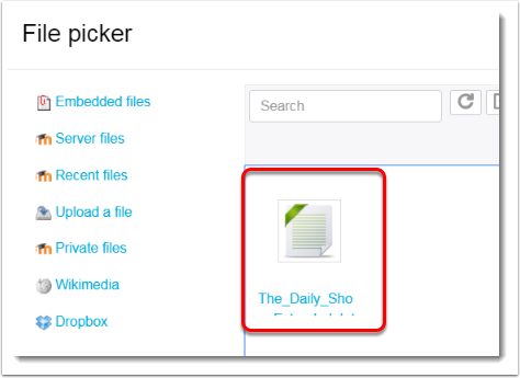 Navigate to the captions file in your dropbox.