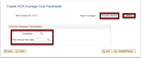 Create HCA Average Cost Paysheets page