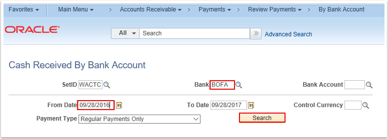 Cash Received by Bank Account Search