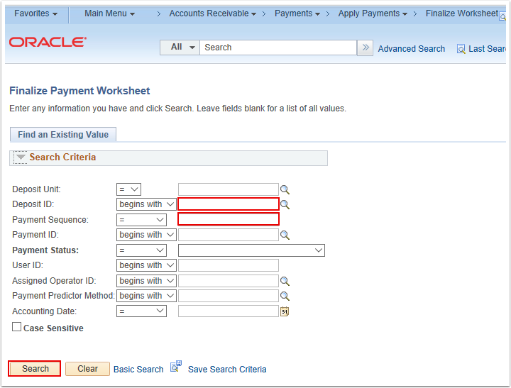 Finalize Payment Worksheet Search