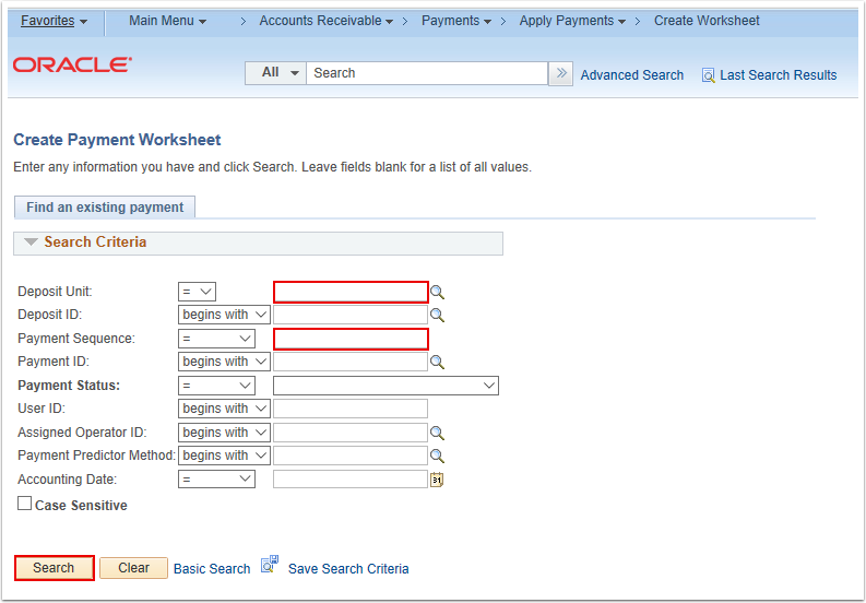 Create Payment Worksheet Search Page