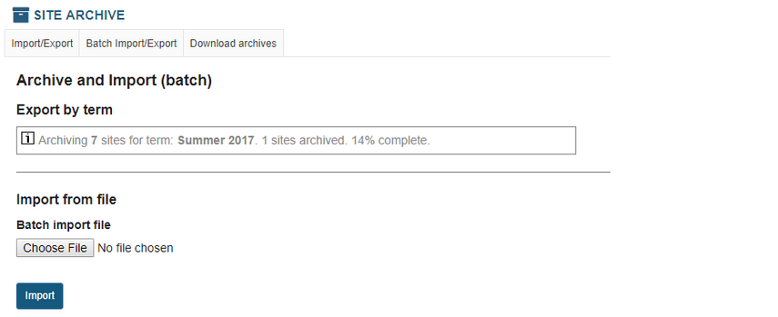 You will see a progress indicator as site archives are created.