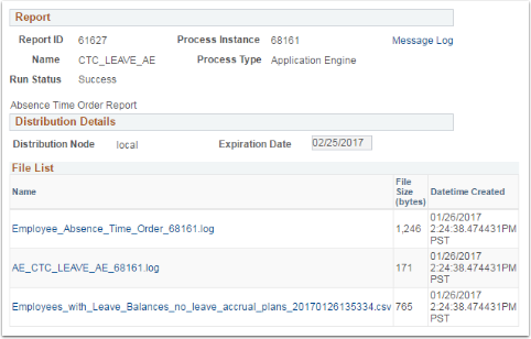 Report, Distribution Details and File List page