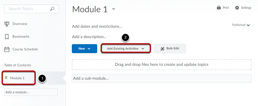 Navigate to the module where you would like to include VeriCite and click Add Existing Activities.