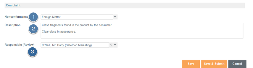 Enter Complaint Details