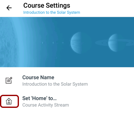 Set Course Home Page