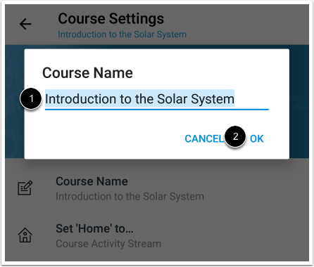 Edit Course Name