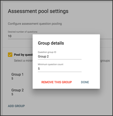image of group details in the assessment pool settings