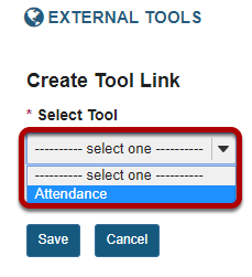 Select a tool from the drop-down list.