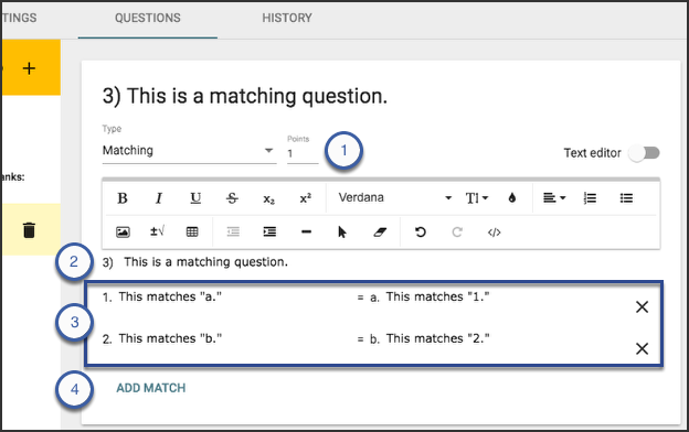 Image of the questions tab showing a matching question.
