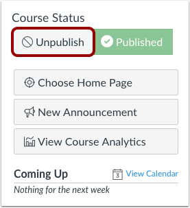 Unpublish Course