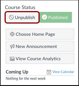 Cancelar la publicación del curso
