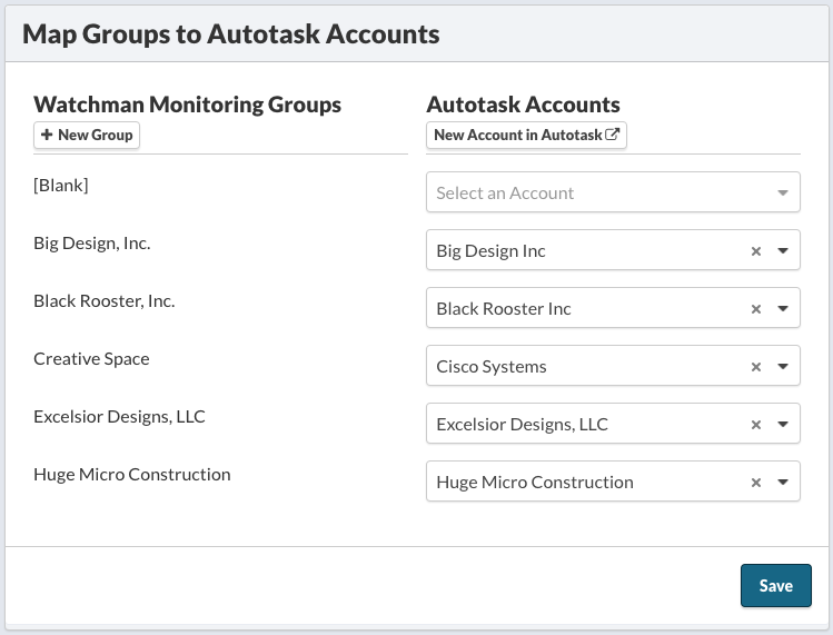 Map Groups to Autotask Accounts