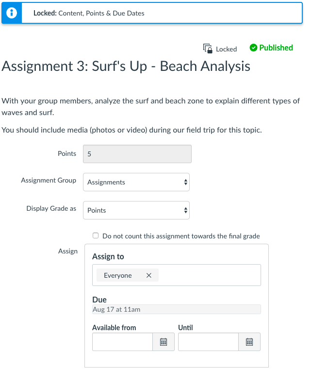 View Edit Page for Assignment