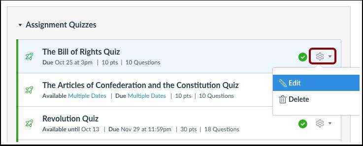 Manage Individual Quiz