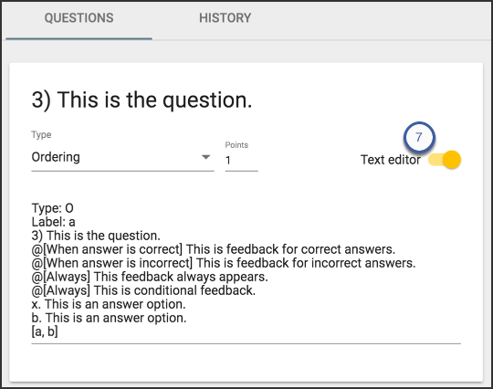 Image of a sample question highlighting the text editor button that allows you to create and edit questions when it's turned on.
