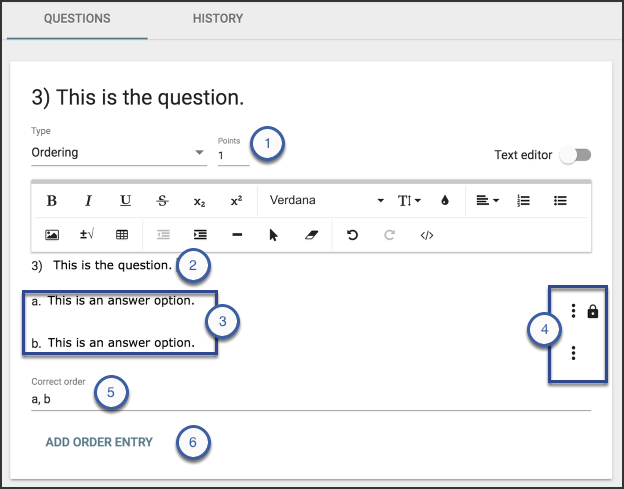 Image of a sample question, with the six items above outlined.