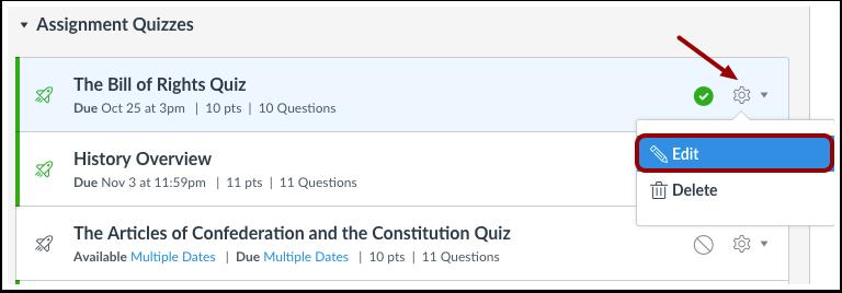Edit Existing Quiz
