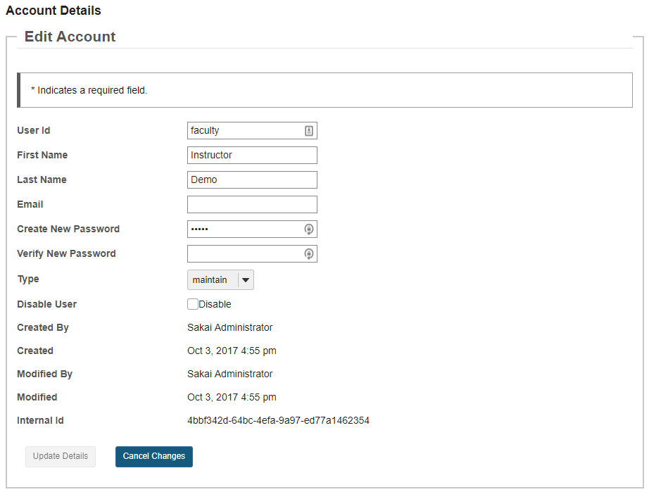 Click on an individual user id to view that user's details.