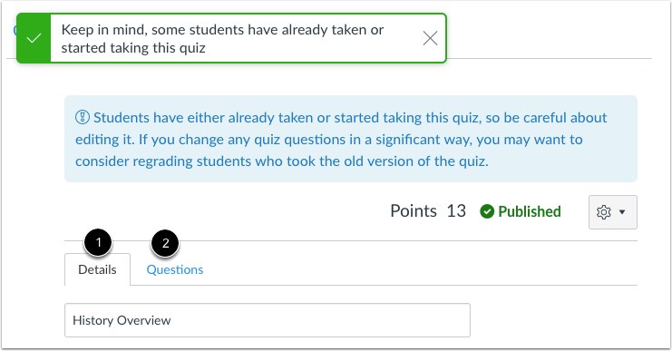 Edit Quiz Settings or Questions