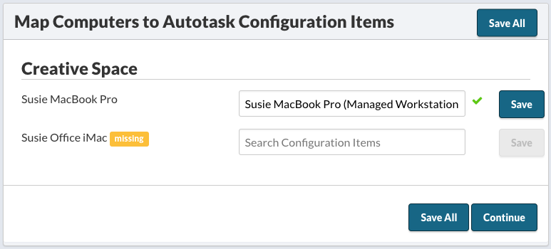 Mac Computers to Autotask Configuration Items
