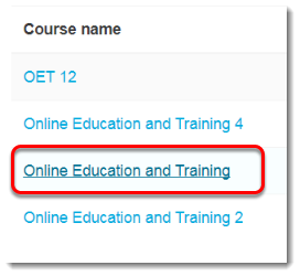 Click on the desired course.