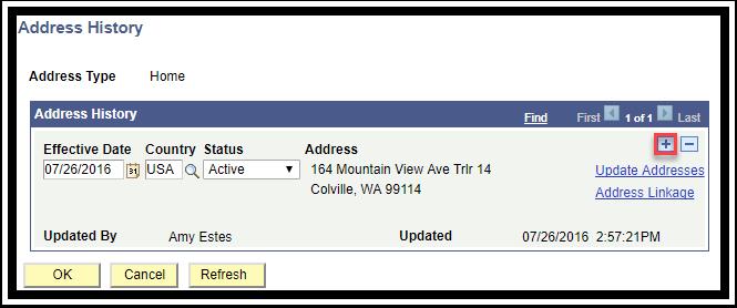 Address History page