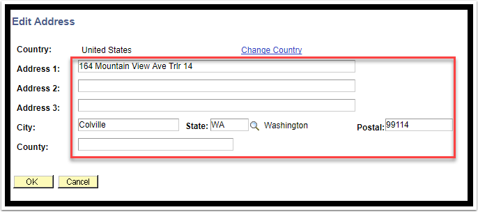 Edit Address page