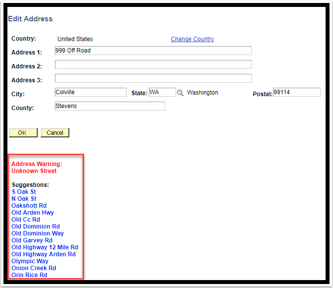 Address Warning prompt