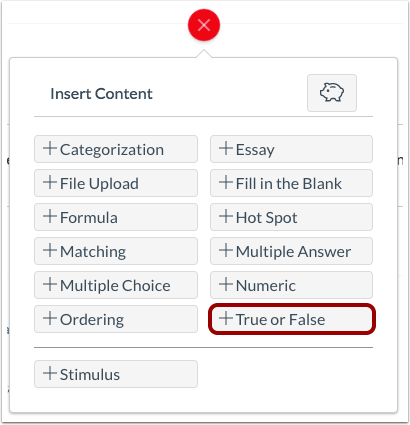 Add True or False Question