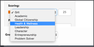 Image of the scoring dropdown menu that includes grit, academic, global citizenship, health and wellness, leadership, character, entrepreneurship, and problem solver.