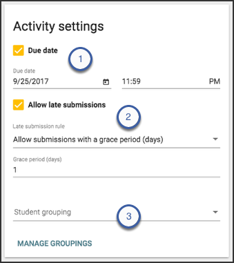 Image of the activity settings card highlighting where to find the due date checkbox, allow late submission checkbox, and the student grouping dropdown.