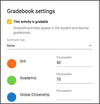 Image of the gradebook settings card for multi-outcome scoring courses, listing grit, academic, and global citizenship options.